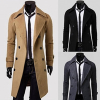 Fashion Wool Long Overcoat For Men With Double Breasted M/L/XL
