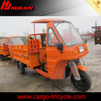 Hot sale cabin three wheel motorcycle/cargo tricycle with semi-cabin with gasoline engine