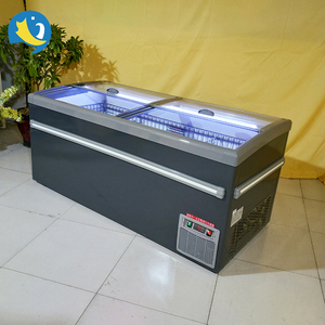 OEM supermarket frozen fish / meat /dumplings curved sliding glass door island chest freezer