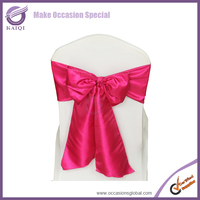 6718 raspberry cheap wedding taffeta chair cover sashes bow for wedding decoration