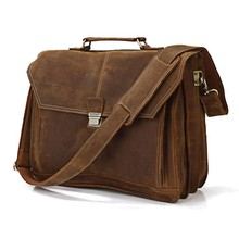 High Quality Drop Shipping Top Grade Multifunctional Fashion Vintage Crazy Horse Leather 17 Inch Laptop Messenger Bag #7083B