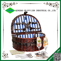 New design 2 person woven wicker outside sport wicker basket
