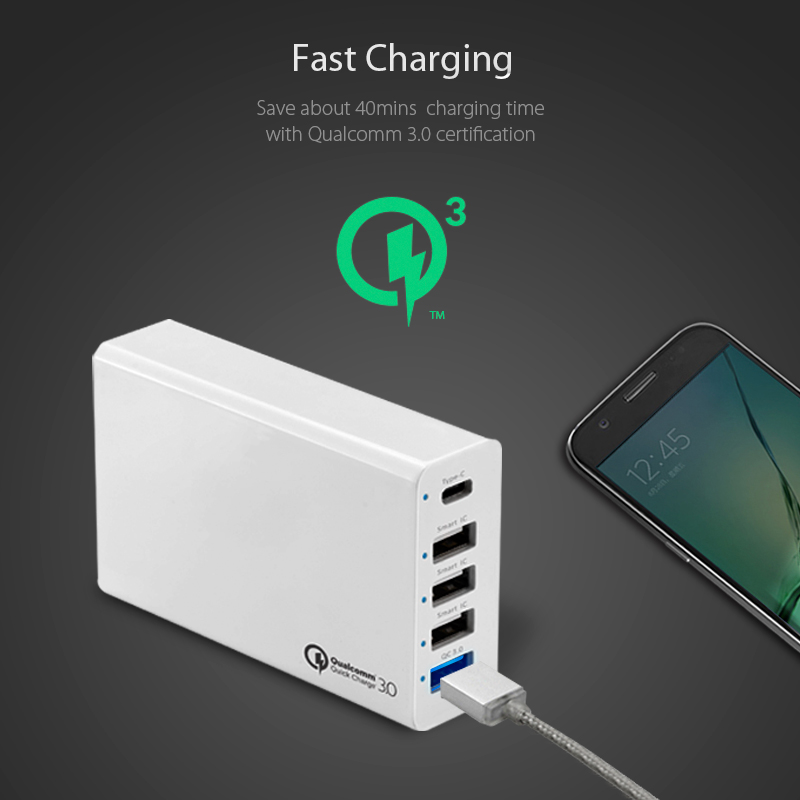 Intelligent 5V 10A 5 ports family charger with QC3.0 and Type-<strong>C</strong> function for all mobile phones usb charger phone