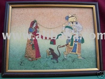 Lord Ganesha, Rat & Lady in Marriage Ceremony, Painting
