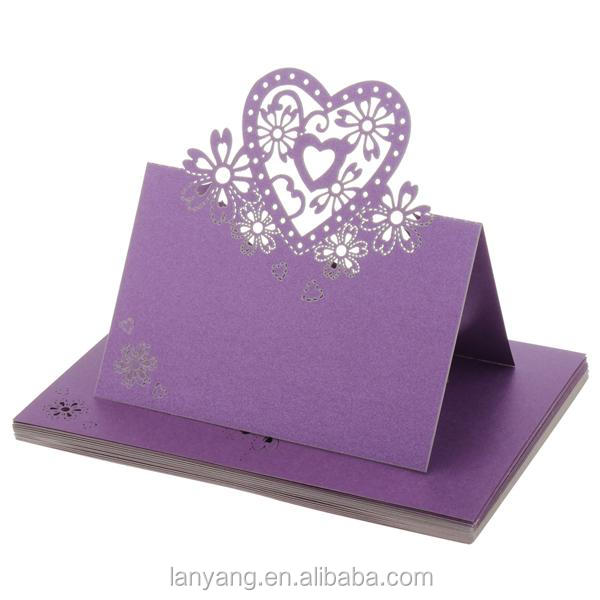 Violet Love Heart Laser Cut Table Name Place Cards-wedding Party Decoration