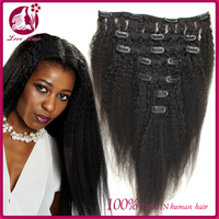 Unprocessed Indian Kinky Straight Clip In Human Hair Extensions Virgin Coarse Yaki Clip Ins For Black Hair 10-32inch 100g/set