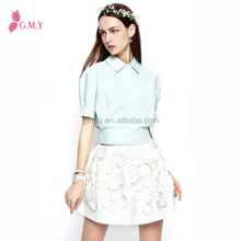 Summer New Design Plain color Short Sleeve Polo Shirts for Women / women blouse