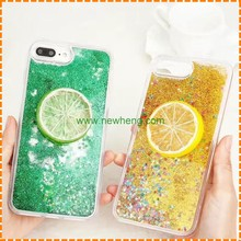 New products Cute Fruit Summer Fresh Green Lemon Liquid Quicksand hard phone case for iphone7