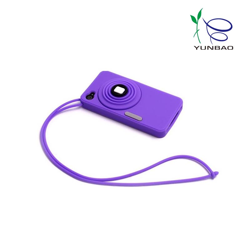 2017 colorful camera shape silicone phone case with loop