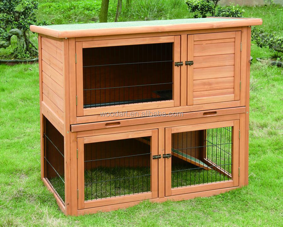 Cheap Wholesale pet cage Wooden Outdoor 2 story Custom Rabbit Hutch
