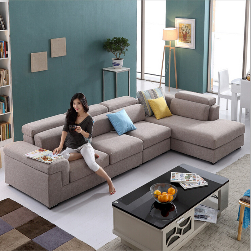 Solid wood living room furniture set modern fabric corner sectional sofa