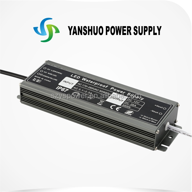 waterproof 300w powersupply 250w IP67 waterproof electronic led driver with high efficiency for led strip