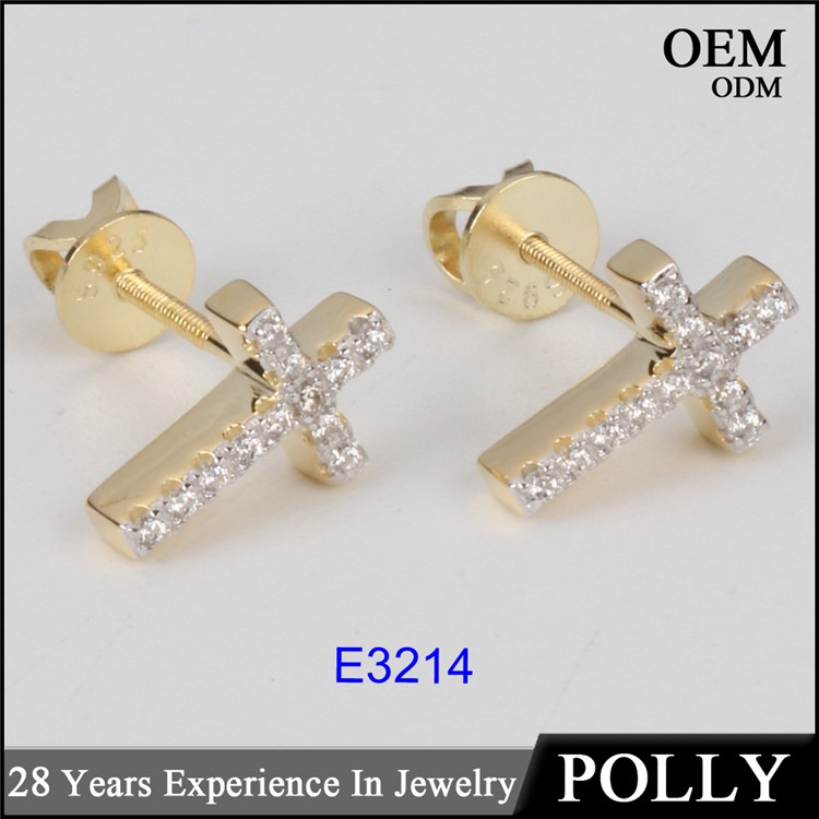 Hot sales 925 silver AAA CZ jewelry two tone hip hop cross earring jewelry