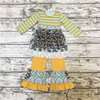 New Style Children's Garments Boutique Children yellow Clothing Set And Ruffle Printing Outfit
