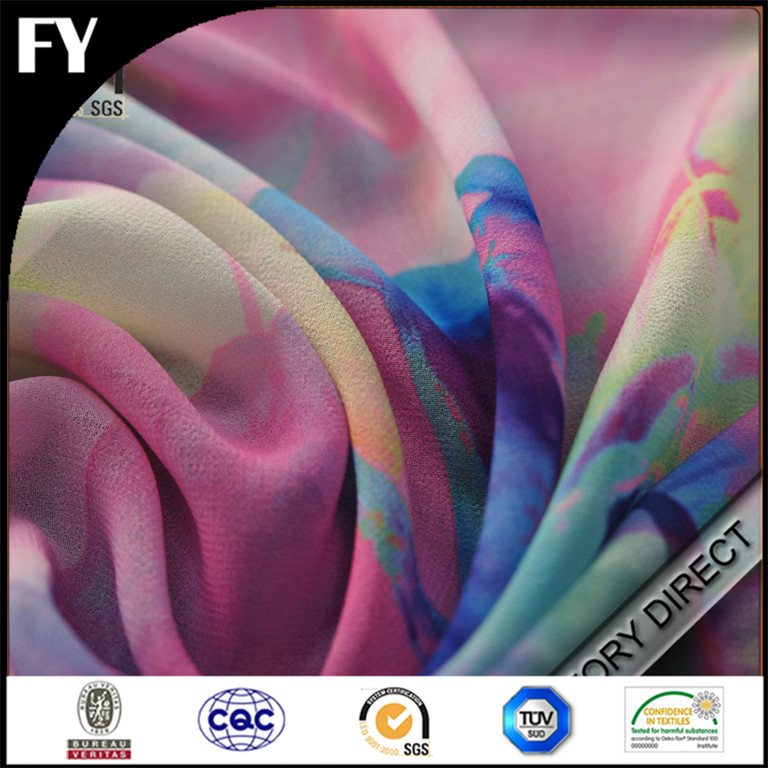 Silk Fabric 2016 Fashion Dress Fabrics Custom Silk Gore Tex Digital Floral Printed