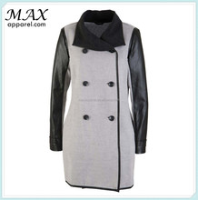 Wholesale long sleeves light grey single breasted coats faux leather tailored collar Illusive women coats