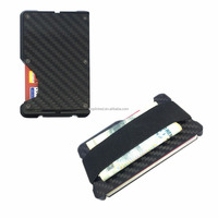 RFID Blocking Business Credit Card Holder Aluminum Automatic Pop-up Card Case Men Mini Wallet Black