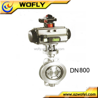 China manufacture ptfe seat double flanged butterfly valve
