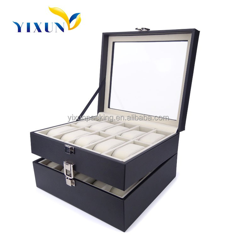 luxury handmade 6,10,12,20 slots pu leather wooden watch display box