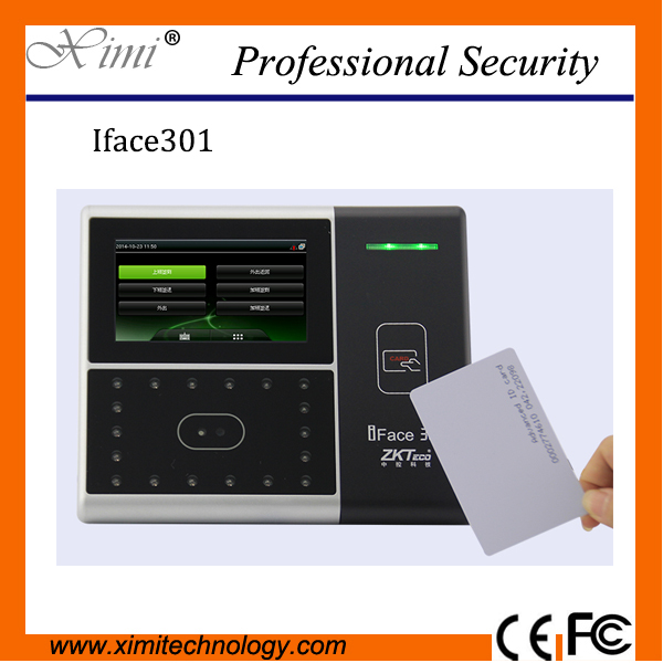 Biometric face access control in time recording system with 125KHZ smart card reader optional ADMS WIFI GPRS and 3G function