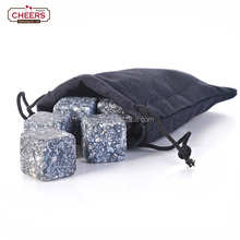 Reusable Whiskey Stones, Chilling Cubes Ice Starlight Gray Granite Whiskey Stones, Set of 9 in Gift Box with a Velvet Pouch