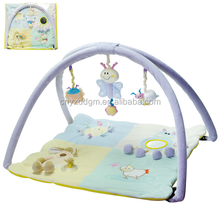 Soft padded baby educational play floor mat with toys/Plush foldable newborn baby play mat with rattle high quality