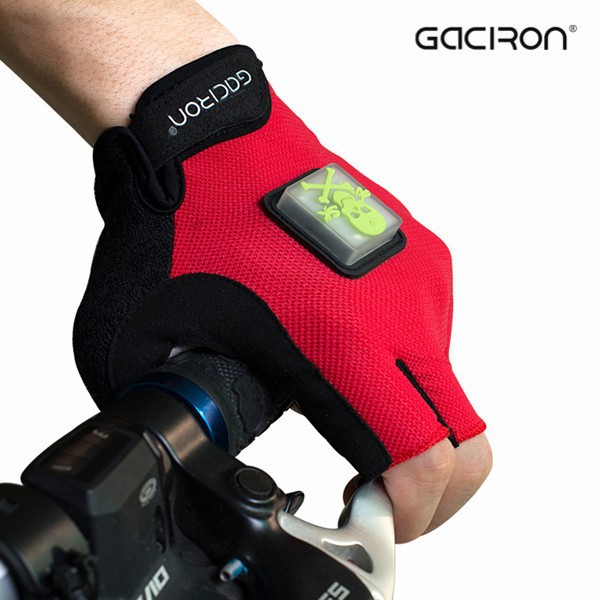 Gaciron 2015 New Shockproof Led Flashing Cycling Gloves Bike Sports Bicycle half Finger Gloves