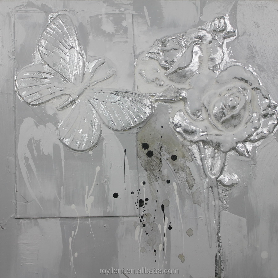 Single Panel Butterfly and Flower 3D Sculpture Handmade Canva Painting Wall Art Interior Decoration Squre Size Two Colors RA0264
