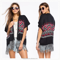 wholesale OEM clothing mexico womens short sleeves open front mexican knit poncho