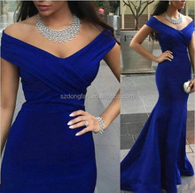 2016 New Mermaid Evening Dresses Blue Cap Sleeve Long Prom Formal Party Pageant Gown for Ladies