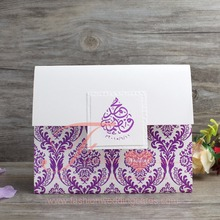 Arabic Style Elegant Purple Pocketfold Wedding Invitation Card
