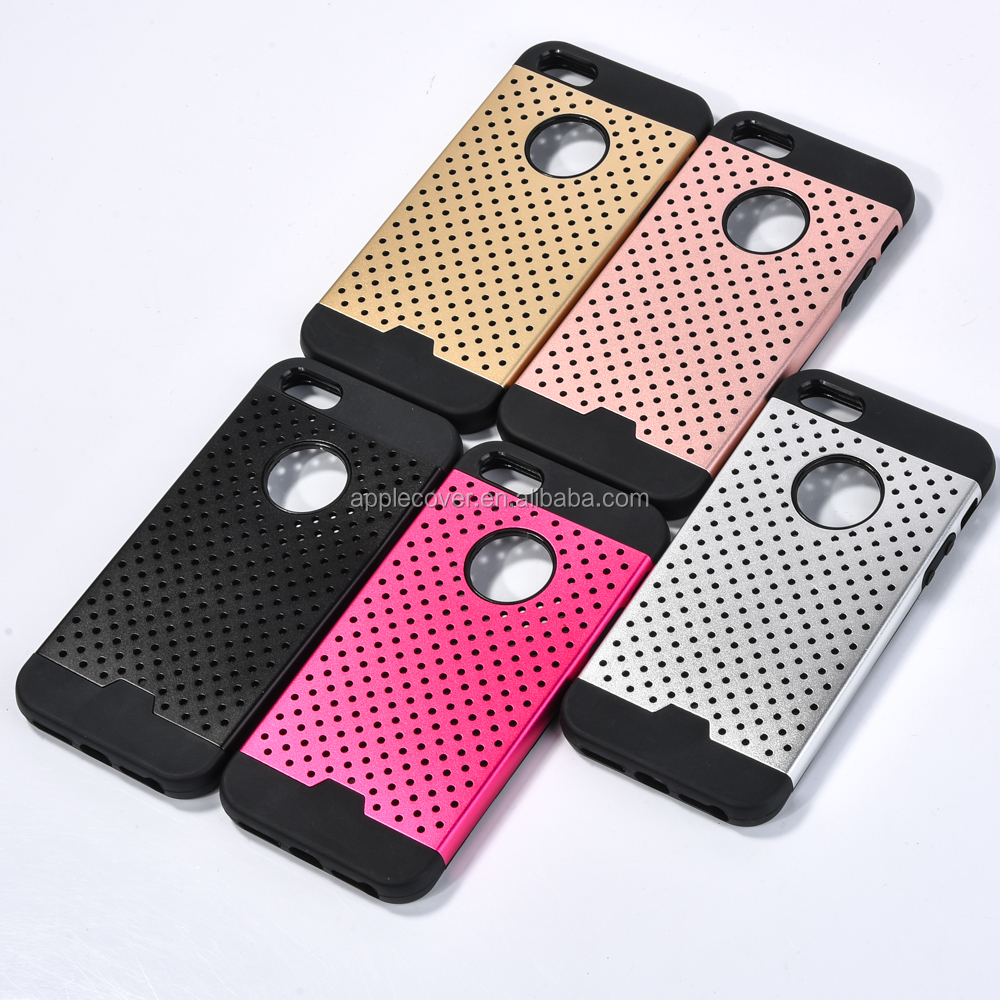 New Arrival Luruxy TPU + Metal Hollow Mixture phone Case for iPhone 5 , for Apple iPhone 5 back cover