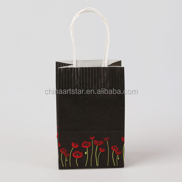 Reusable Kraft Paper Take Away Grocery tote Bags With Paper Handles