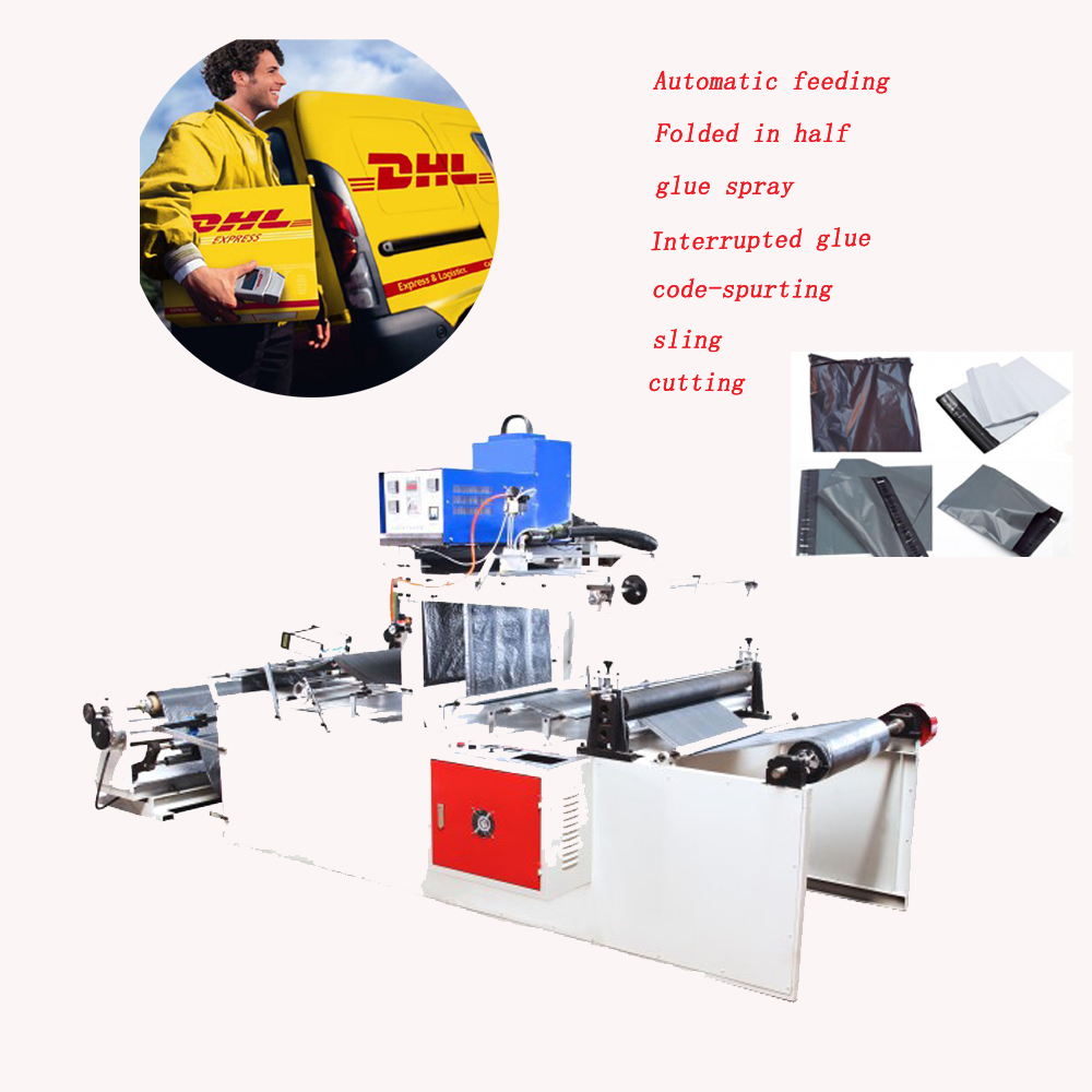 spray glue operating poly curier mailer bag making machine/DHL express bag packing and cutting machine
