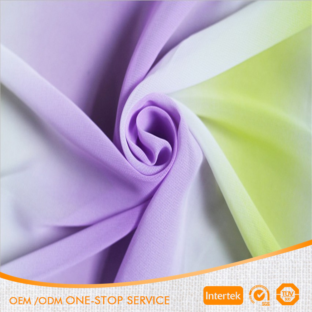 High quality 100% polyester colourful gradiente rainbow chiffon fabric for dress