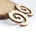 Swirl Shape- Laser cut wood earrings