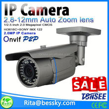 Newest ONVIF 2.8-12mm auto focus lens zoom ip camera 2 mp full hd 1080 p motorized lens