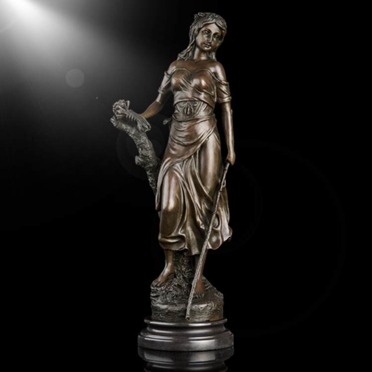 High quality bronze customized life size Pretty girl bronze sculptures
