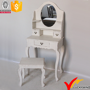 Shabby Chic Antique Bedroom Furniture Vintage French style White Wooden Dressing Table