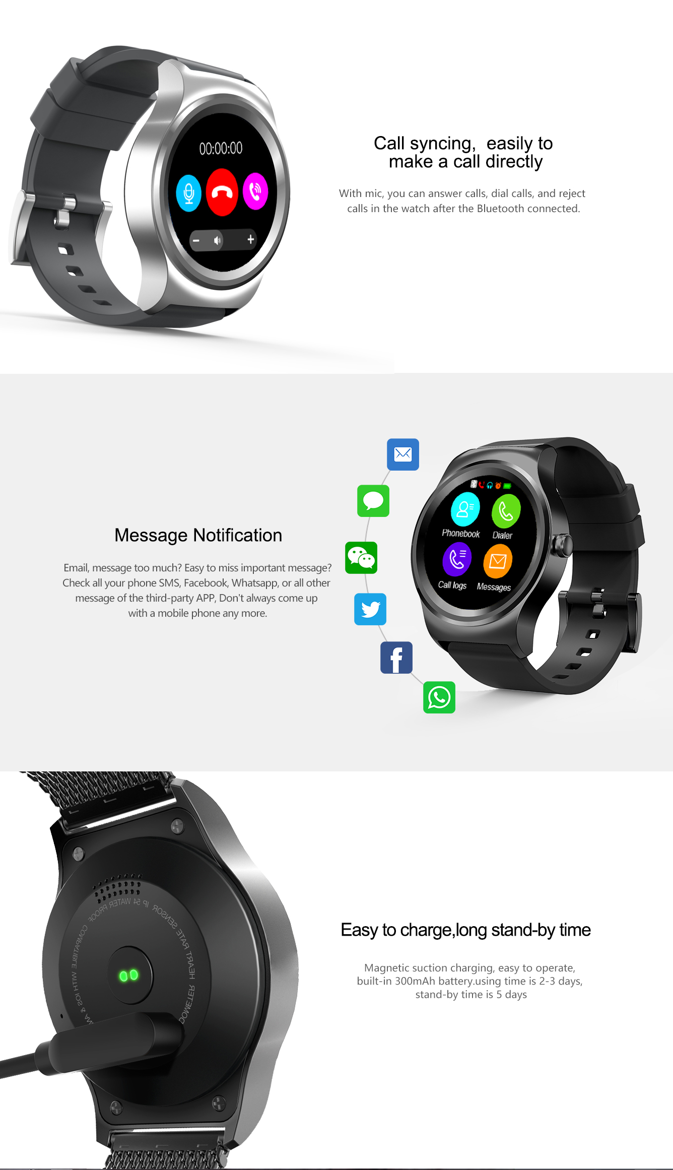 Smart watch 1.3 inch round screen heart rate pedometer SMA ROUND MTK2502 support Android and iOS