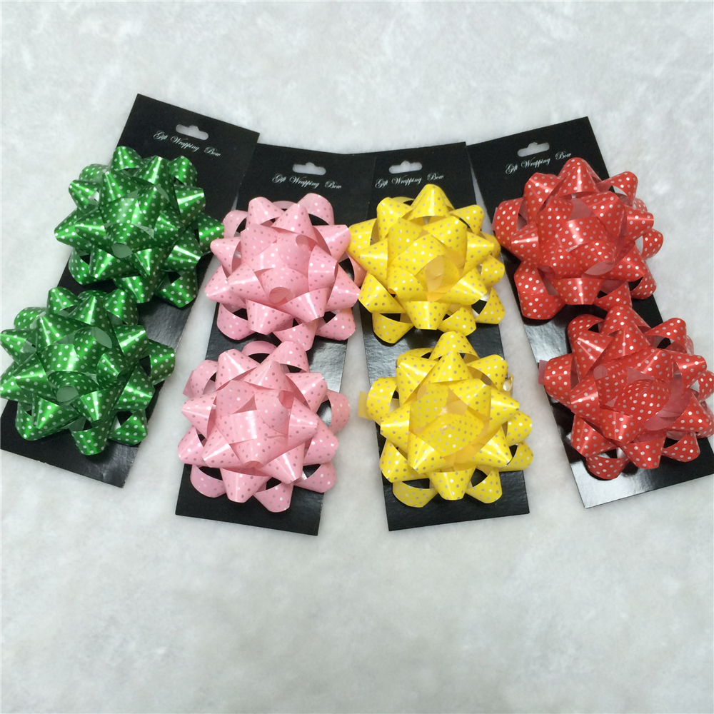 Hot sale custom plastic ribbon printed dots foldable star packing bow