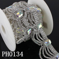 Clear Crystal Rhinestone Trim for Garment, Bags, Dresses Decoration