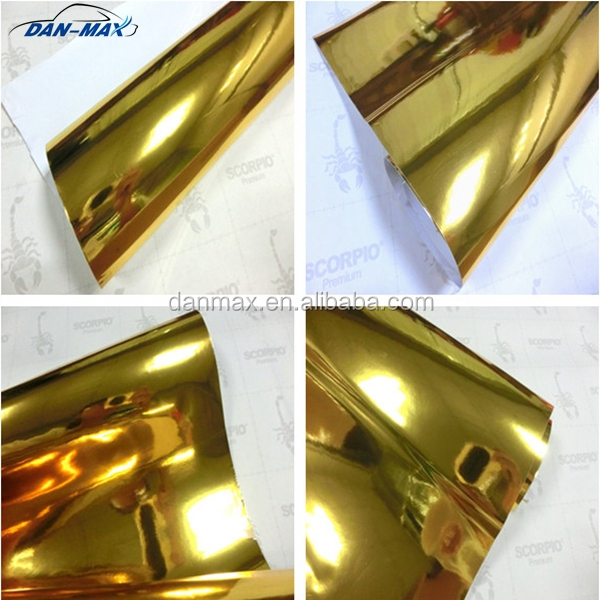 High stretchable pvc self-adhesive car body wrapping gold chrome mirror foil