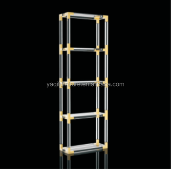 Modern Acrylic Corner Bookshelf Storage Shelf Stainless Steel Part Metal Cabinet in Gold