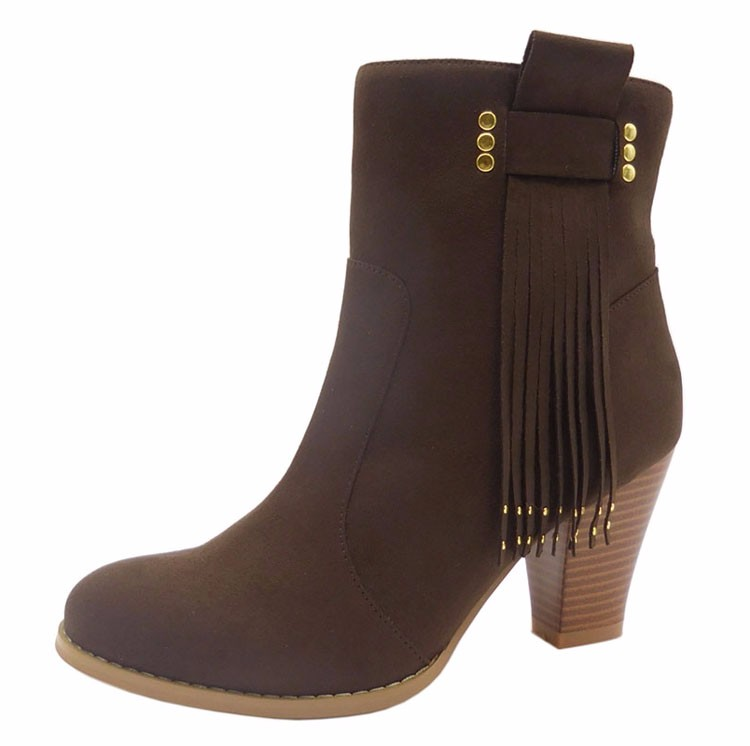 Manufacturer Fashion EUR Faux suede Rubber Heel fringe ankle coffee Casual <strong>Boots</strong> for girls