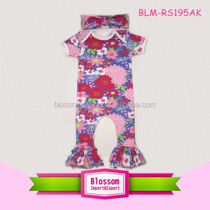 Yiwu Alibaba Baby Girl Floral Romper Jumpsuit Flutter Sleeve Ruffle Icing Romper