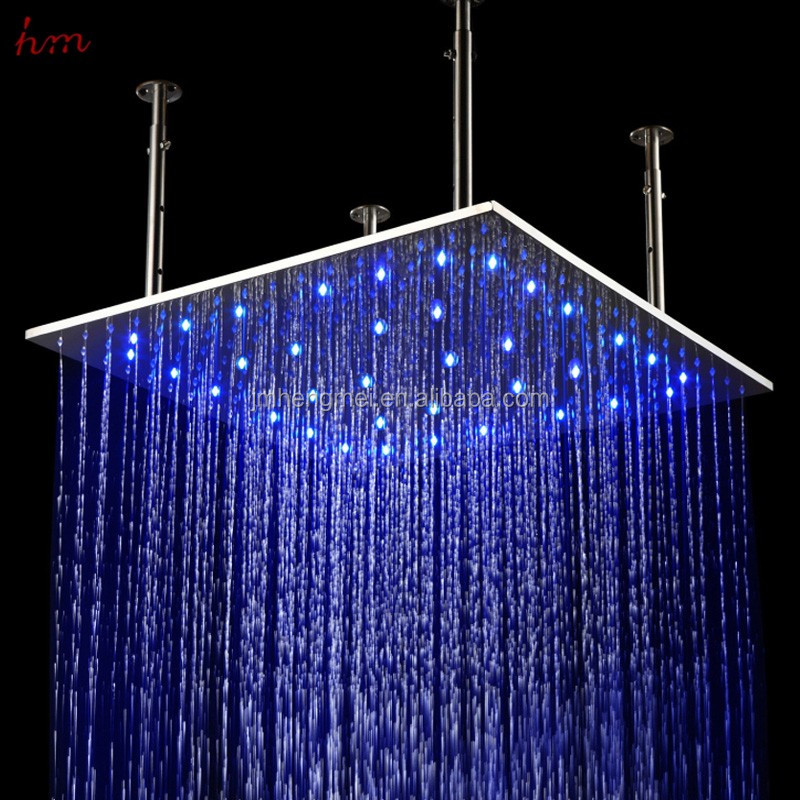 New Style 31 Inch Overhead Rainfall Duchas Big Massage Shower Head Water Temperature Control Led Color Changing Nickle Brush