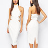 Side Hollow Out Latest Design Fashion High Collar Backless Cocktail Dress