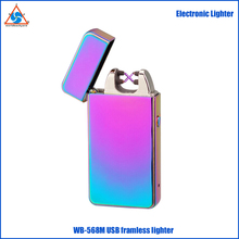 TQ568M 2018 Solid Color Mirror Finish Black Gift Box Laser Logo Available Framless Dual Arc Electric USB Rechargeable Lighter