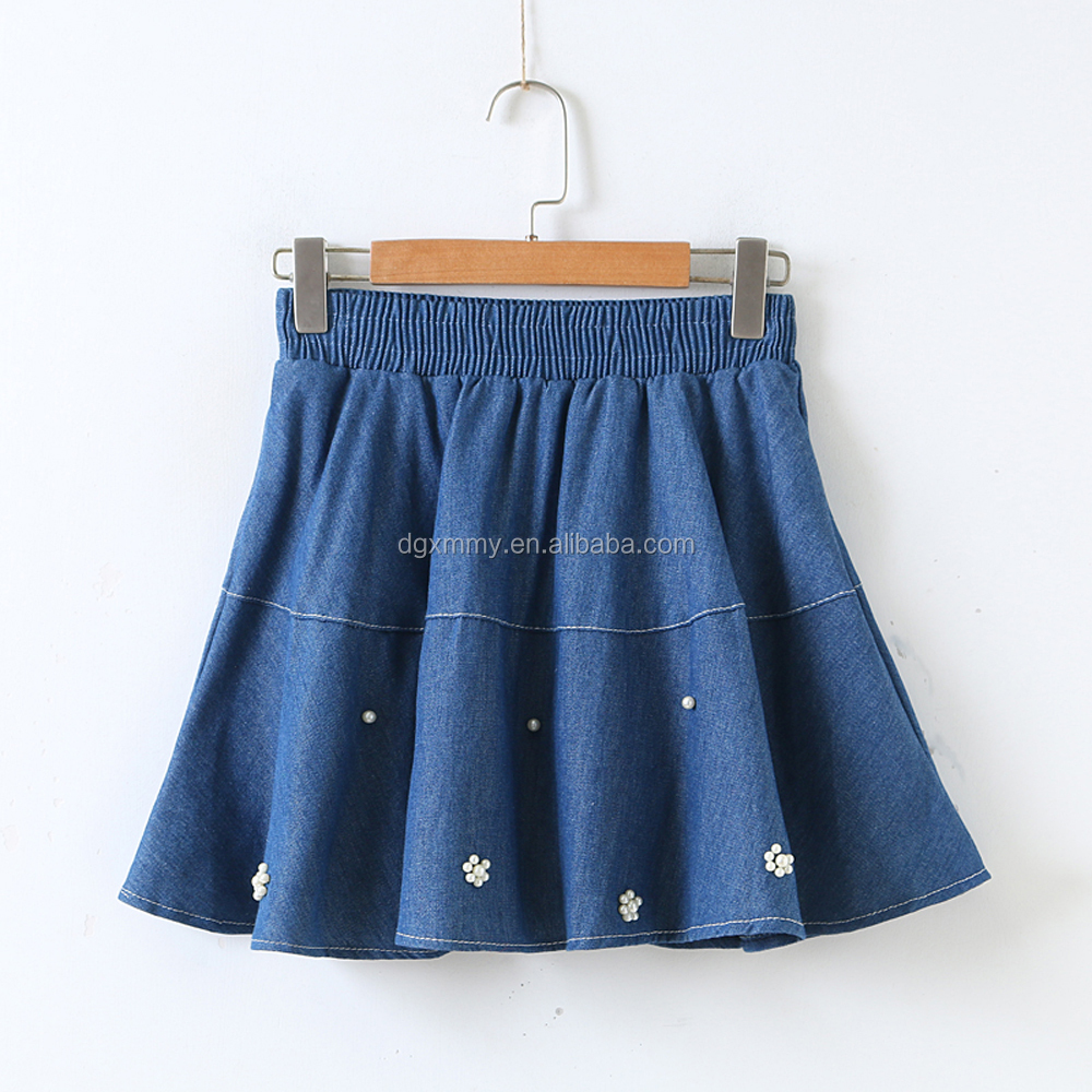 2017 Women Vintage A-line Skirts Fashion Super Mini Skirt Female Casual Harajuku Style Elastic Waist Denim Skirt